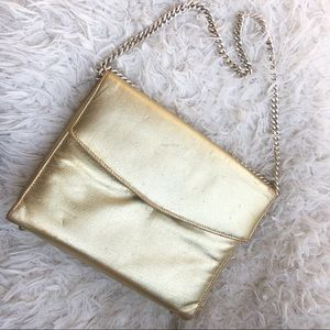 Vintage Gold Metallic Bag and Gold Chain!